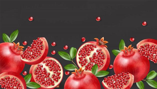 Melograno rosso realistico, frutta fresca isolata, sfondo nero