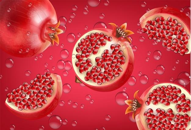 Melograno rosso realistico, frutta fresca isolata, sfondo rosso, gocce d'acqua