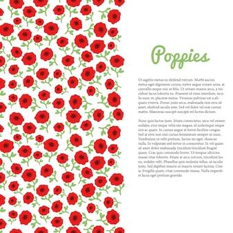 Il papavero rosso fiorisce il confine. modello vettoriale per volantino, banner, poster, opuscolo, copertina, cartoline, invito,