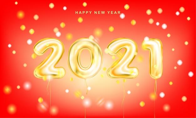 Manifesto rosso dell'iscrizione dorata di nuovo anno 2021 con i coriandoli