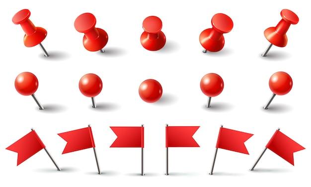 Puntina da disegno rossa, bandiera e puntina da disegno.