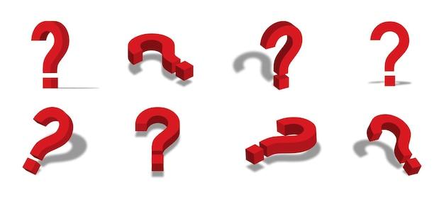 Punto interrogativo rosso icona 3d illustrazione con diversi punti di vista e angoli