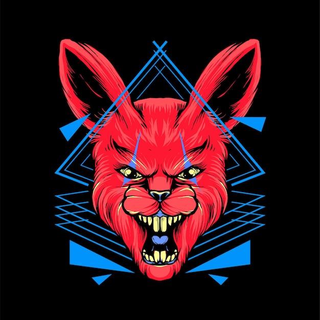 Illustrazione rossa della maglietta della testa del coniglio vettore premium