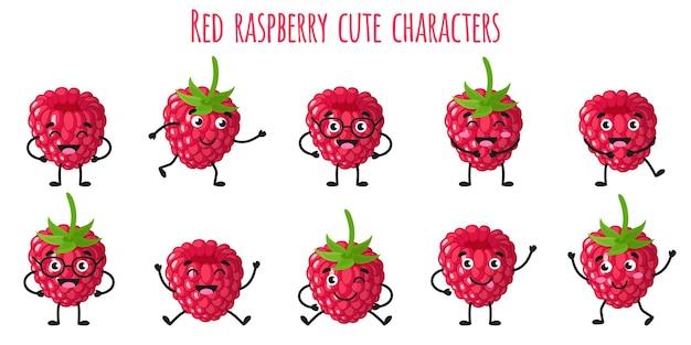 Frutto di lampone rosso simpatici personaggi allegri e divertenti con diverse pose ed emozioni