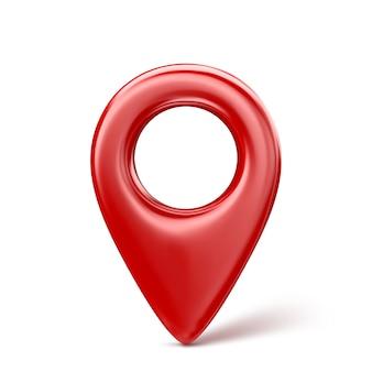 Icona rossa realistica del puntatore del perno della mappa 3d. isolato.