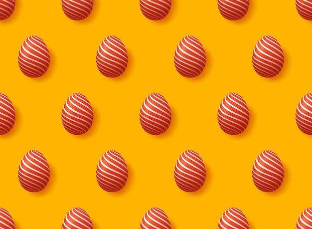 Modello senza cuciture delle uova di pasqua realistiche rosse.