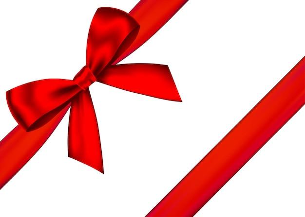 Fiocco regalo realistico rosso con nastro orizzontale isolato su sfondo bianco