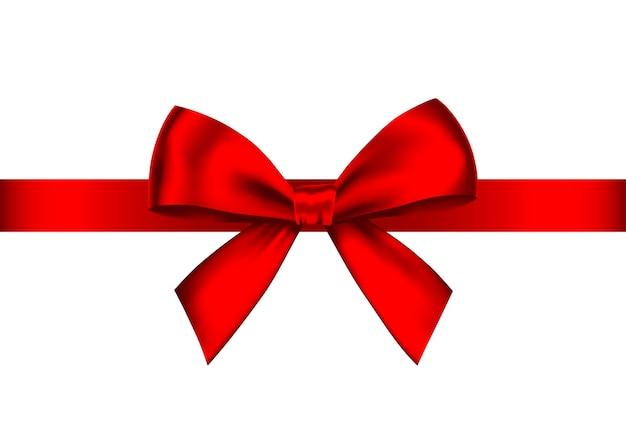 Fiocco regalo realistico rosso con nastro orizzontale isolato su bianco