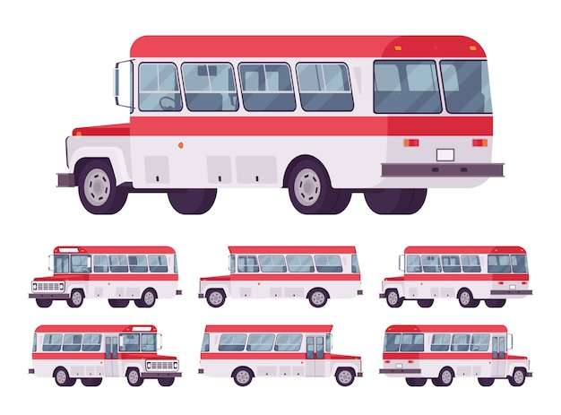 Collezione di autobus retrò rosso isolato su bianco
