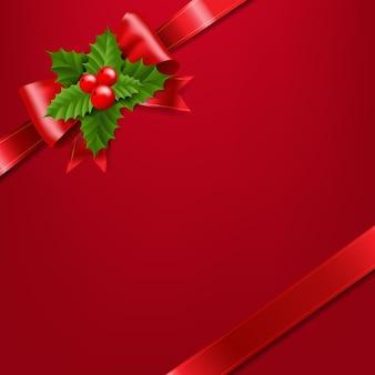 Fiocco di nastro rosso con illustrazione di bacche di agrifoglio rosso