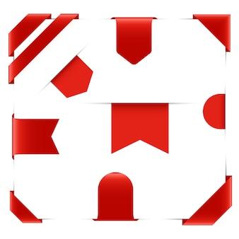 Collezione di nastro rosso isolata