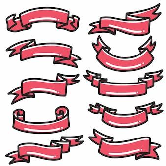 Elemento di arte e design doodle disegnato a mano banner icona nastro rosso.