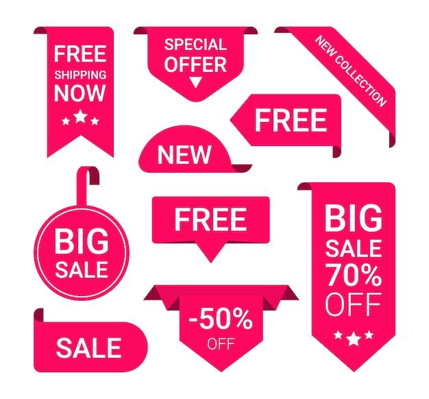 Nastro rosso del cartellino del prezzo, promozione di vendita, nuovo set di pacchetti di offerta.