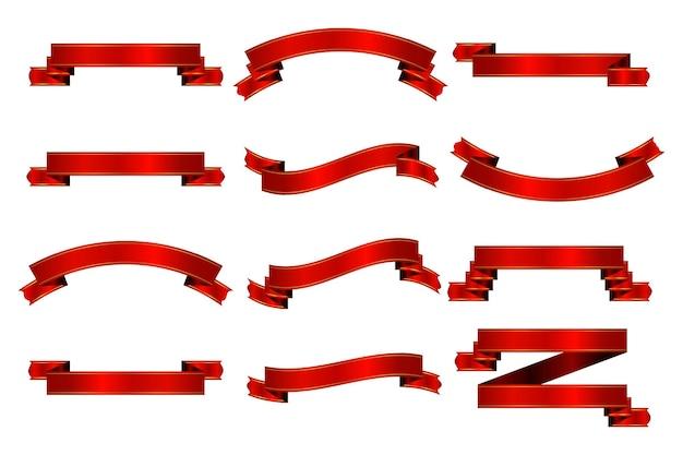 Collezione di nastri rossi isolati su sfondo bianco