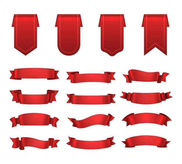 Nastri rossi, set di etichette, elementi di banner onda decorativa lucida