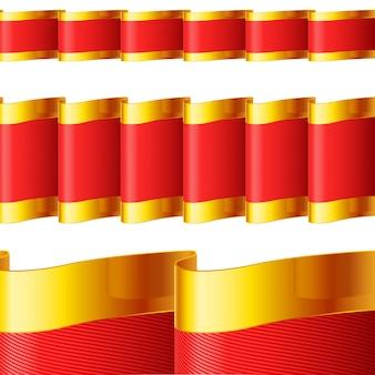 Nastri rossi con bordi dorati