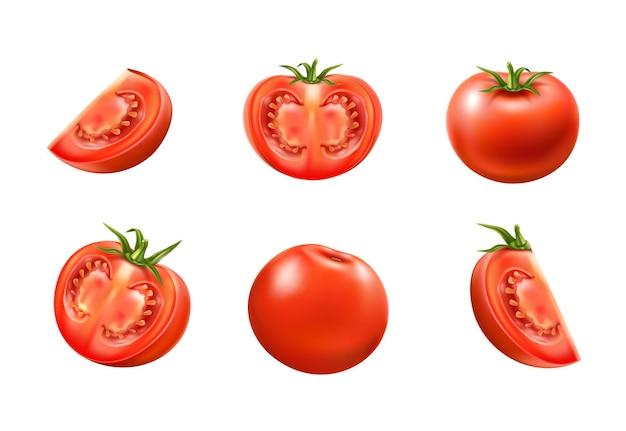 Insieme di pomodori rossi maturi interi e affettati. succose verdure crude per una sana alimentazione confezione del prodotto. ingrediente vegetariano fresco, cibo biologico.