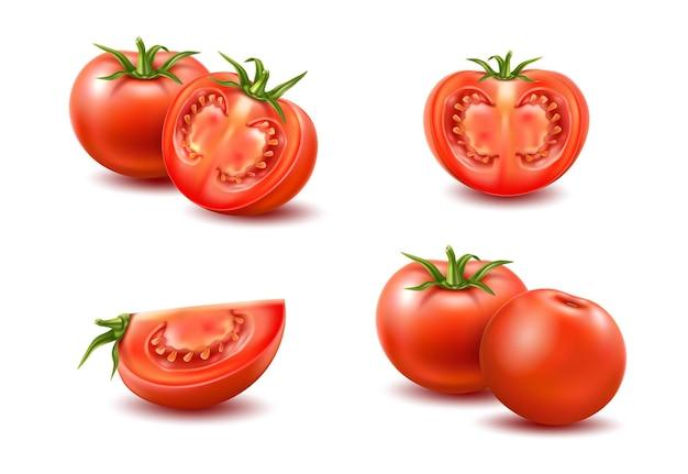 Insieme di pomodori rossi maturi interi e affettati.