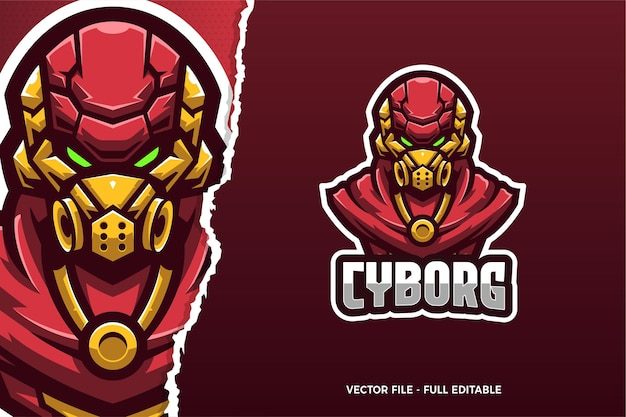 Red robot e-sport game logo modello
