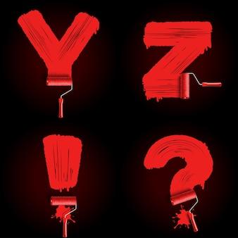 Carattere alfabeto pennello rullo rosso