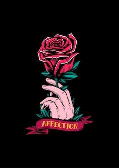 Illustrazione creativa di affetto e rosa rossa