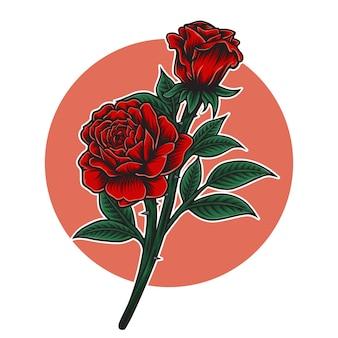 Illustrazione del fiore della rosa rossa
