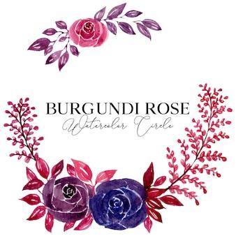 Illustrazione del cerchio dell'acquerello del fiore della rosa rossa