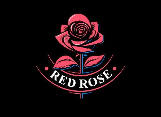 Logo della rosa rossa - illustrazione, progettazione dell'emblema su fondo nero