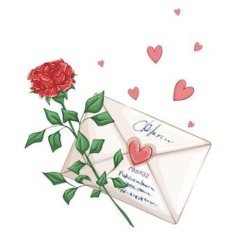 Rosa rossa, lettera d'amore e cuori. bella composizione romantica su un bianco.