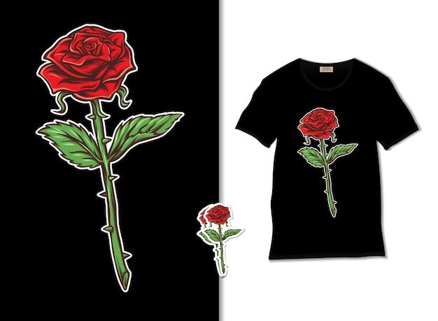 Illustrazione di stelo rosa rossa con design t-shirt