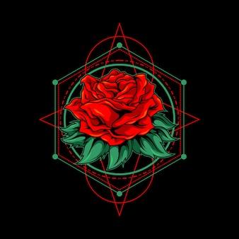 Rosa rossa con illustrazione di geometria sacra