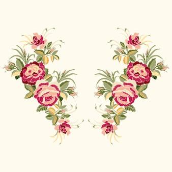 Ricamo di rose rosse con foglie e boccioli. linea scollo a fiori etnici, disegno floreale, grafica alla moda. ricamo per t-shirt.