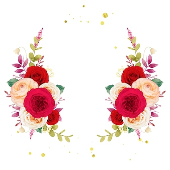 Ghirlanda di fiori di rose rosse