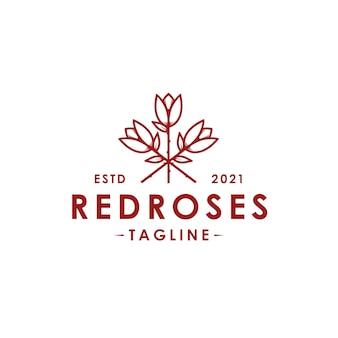 Modello di logo di vettore di rose rosse isolato su bianco