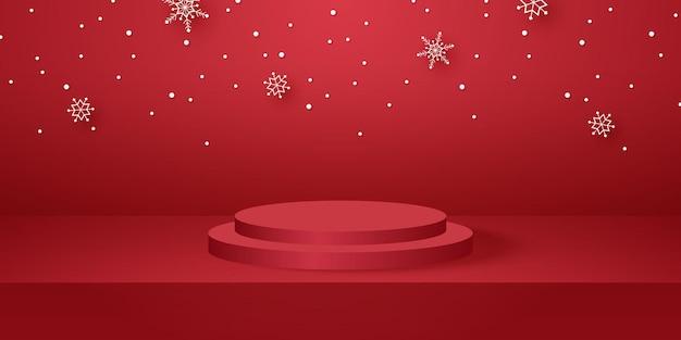 Podio rotondo rosso con sala studio vuota per lo sfondo del prodotto e mockup per natale