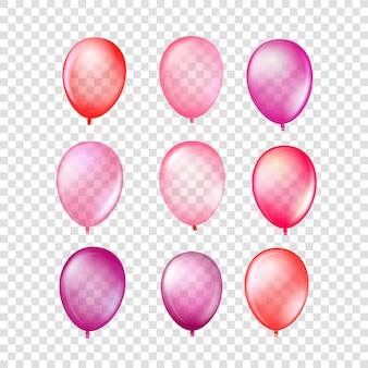 Collezione di palloncini in gomma rossa isolato su sfondo trasparente