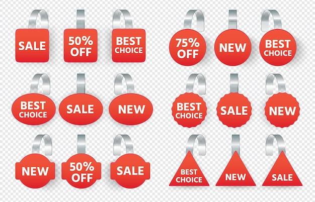 Le etichette di vendita rosse oscillano con il testo