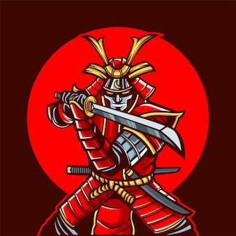 Illustrazione del fumetto della mascotte del samurai rosso