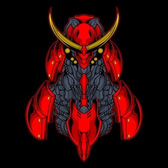 Illustrazione rossa del robot del samurai