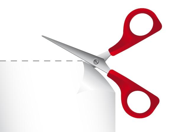 Carta da taglio rossa a forbice