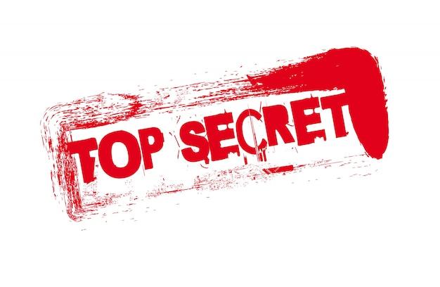 Sigillo rosso con testo top secret sopra vettore sfondo bianco