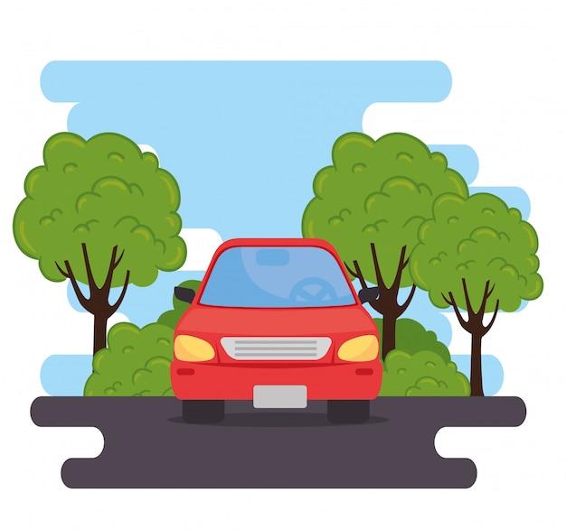 Veicolo di automobile rosso della berlina nella strada, con progettazione dell'illustrazione di vettore della natura delle piante dell'albero