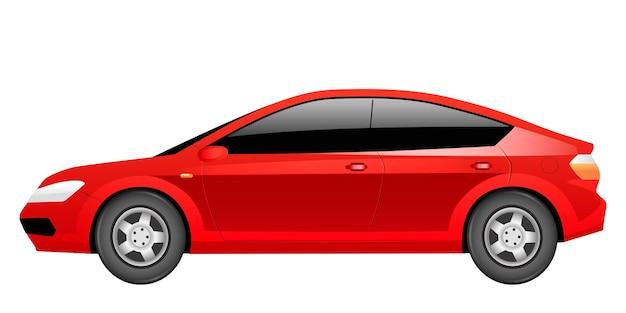 Fumetto della berlina rossa. auto elettrica generica, oggetto di colore piatto veicolo contemporaneo. trasporto ecologico. automobile ibrida ecologicamente sicura isolata su priorità bassa bianca