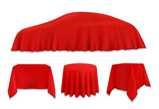Oggetti ricoperti di stoffa di seta rossa, tovaglioli o tovaglie appesi su auto, tavoli quadrati, rotondi e rettangolari. Vettore Premium