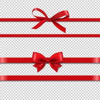 Nastri di seta rossi set isolato sfondo trasparente