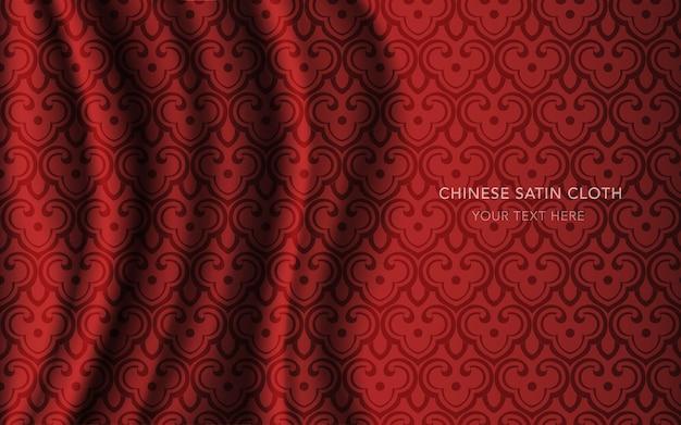 Panno in tessuto raso di seta rosso con motivo, chintz scala croce curva