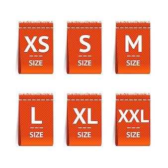 Set di etichette di abbigliamento di dimensioni rosse.