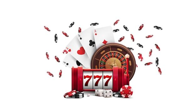Slot machine rossa con jackpot, ruota della roulette del casinò, fiches da poker e carte da gioco isolate su sfondo bianco