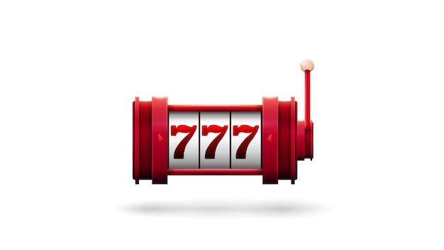Slot machine rossa con jackpot isolato su sfondo bianco
