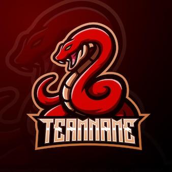 Illustrazione di esport della mascotte del serpente rosso